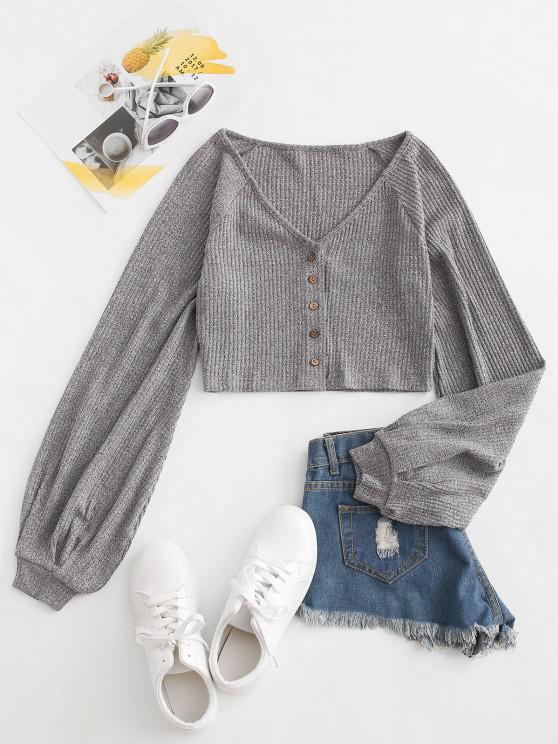 sale Knit Voluminous Sleeve Cropped Cardigan - GRAY XL