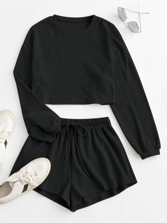 outfits Knitted Drop Shoulder Drawstring Shorts Set - BLACK S