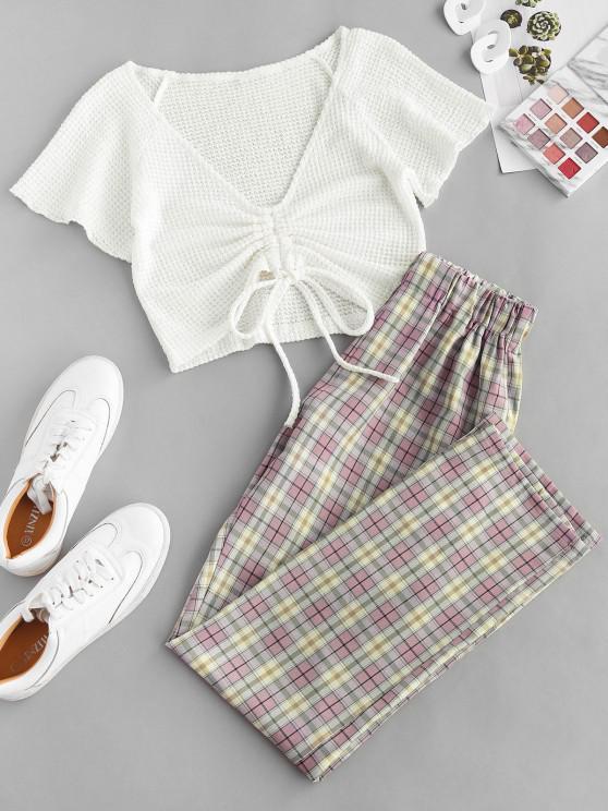 Cinched Plaid High Waisted Pants Set - وردي فاتح S