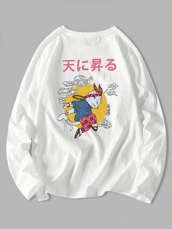 Japanese Cat Graphic Print Long Sleeve Tee - أبيض 2XL
