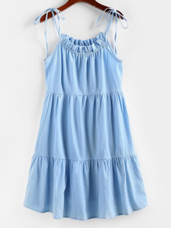 affordable ZAFUL Tie Strap Frilled Tiered Cami Dress - DAY SKY BLUE XL
