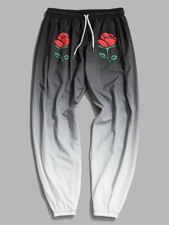 Pantalones Acampanados con Estampado de Rosa Ombre - Gris Carbón 2XL