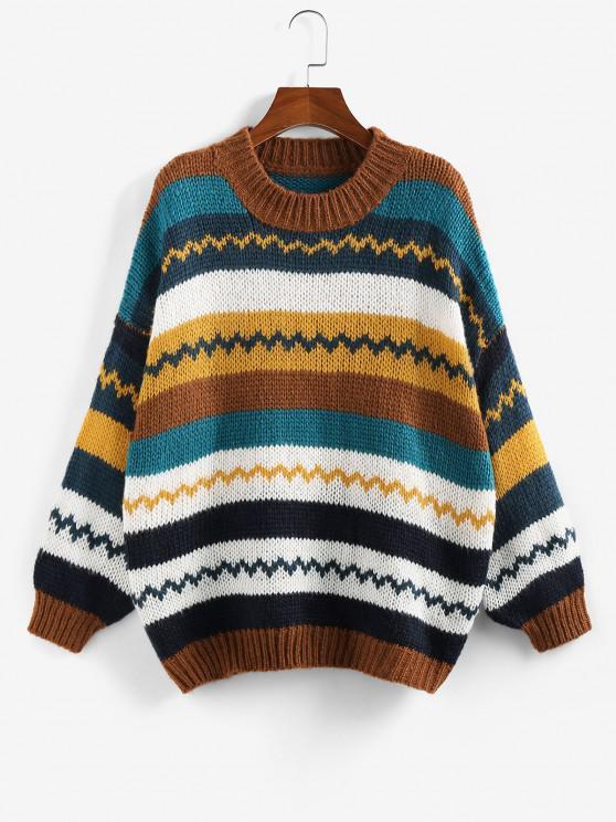 fancy ZAFUL Colorblock Drop Shoulder Sweater - COFFEE L