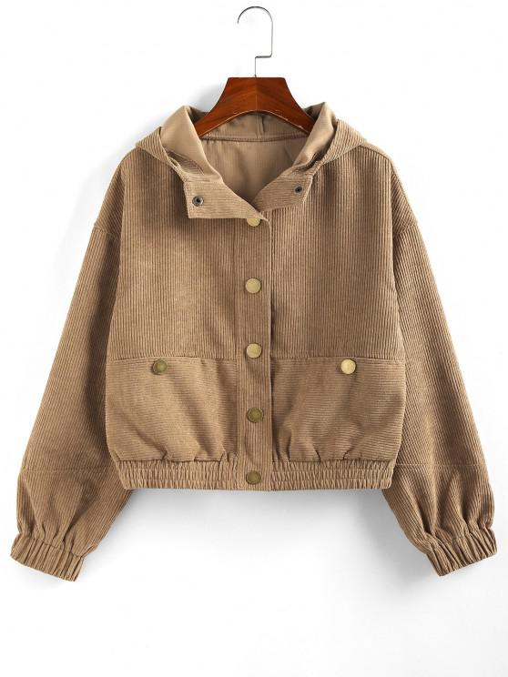 outfit ZAFUL Hooded Corduroy Jacket - BROWN SUGAR M