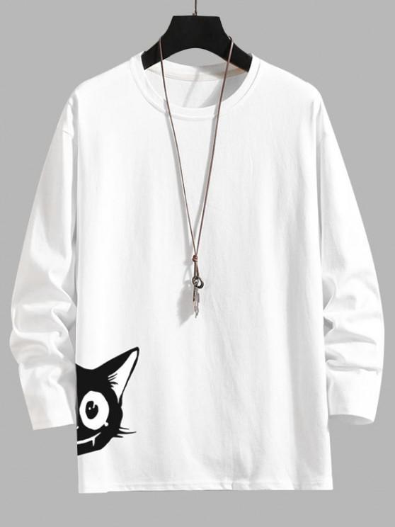 Animal Print Long Sleeve Basic T-shirt - أبيض 2XL
