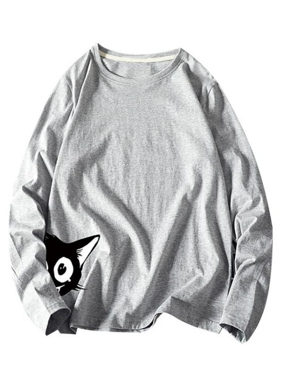 Camiseta Básica de Manga Larga con Estampado de Animal - Gris 2XL