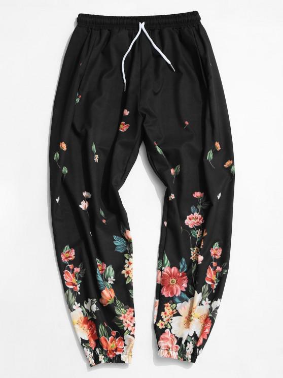 ladies Flower Print Elastic Waist Beam Feet Pants - BLACK XL
