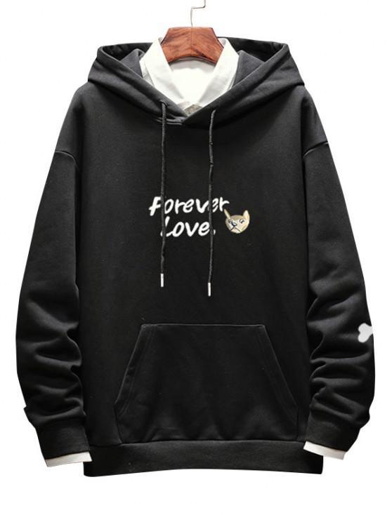 chic Forever Love Dog Print Drop Shoulder Hoodie - BLACK M