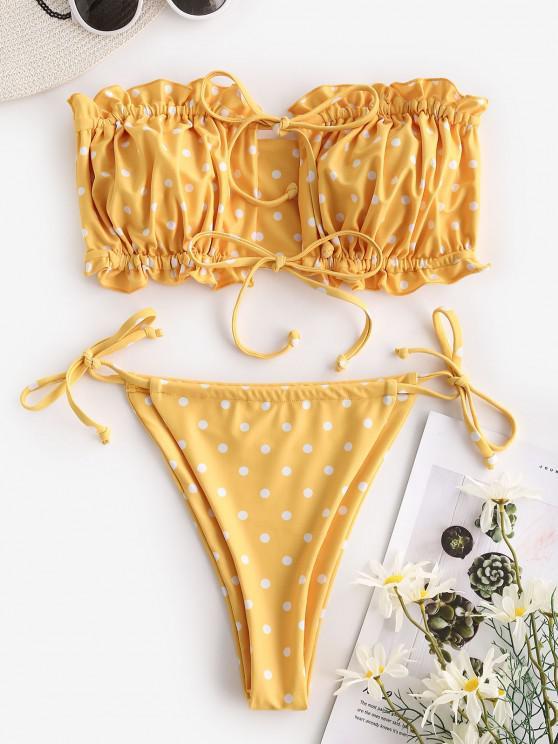 women ZAFUL Polka Dot Side Boning Tie Tanga Bandeau Bikini Swimwear - YELLOW M