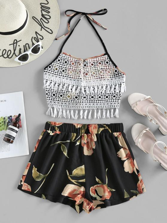 ZAFUL Halter Crochet Floral Print Two Piece Set - ليل M