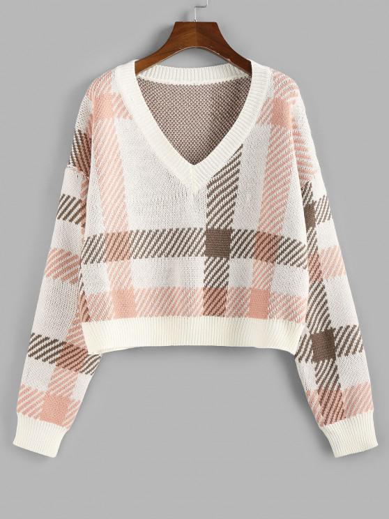 fancy ZAFUL Plaid V Neck Sweater - LIGHT PINK S