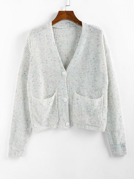 ZAFUL Drop Shoulder Confetti Knit Pocket Cardigan - أبيض S