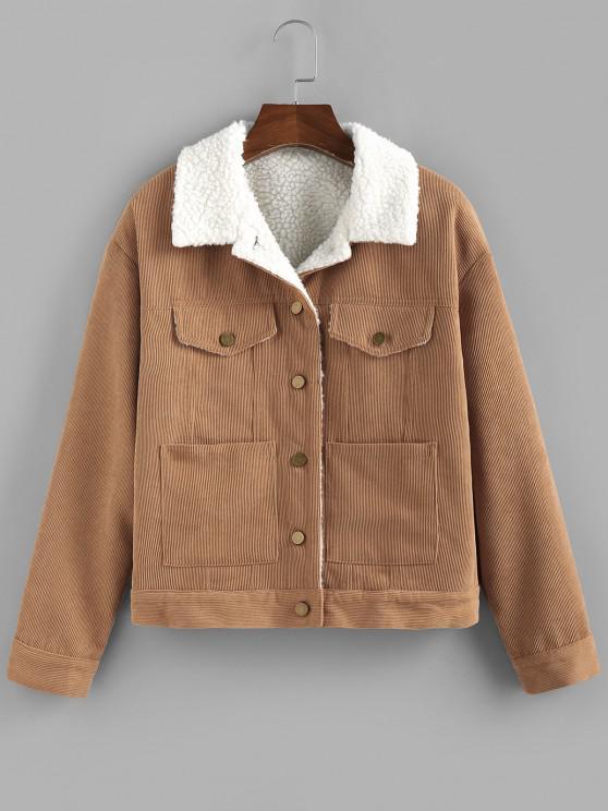 hot ZAFUL Corduroy Drop Shoulder Pocket Jacket - WOOD S