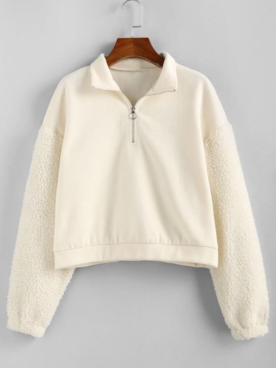 ZAFUL Faux Fur Sleeve Half Zip Sweatshirt - الأبيض الدافئ S