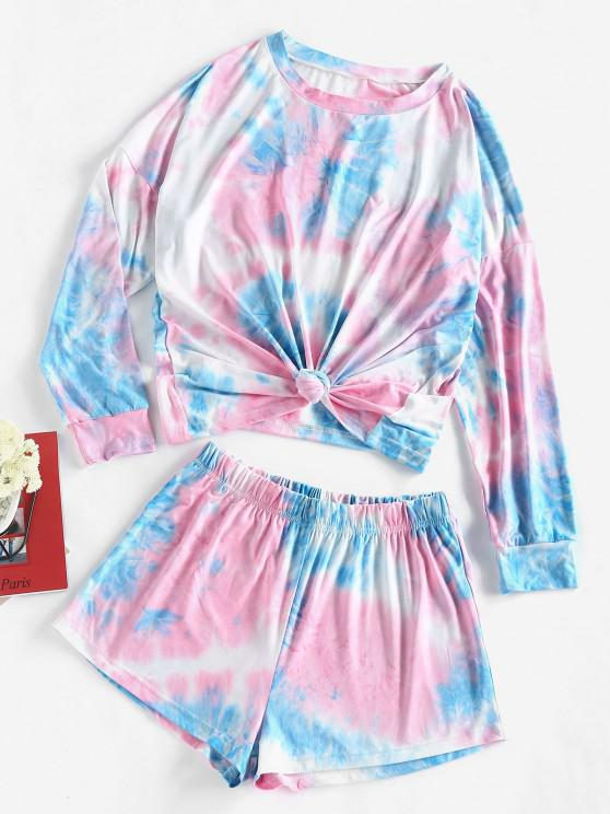 womens ZAFUL Tie Dye Tee and Shorts Two Piece Set - LIGHT BLUE L