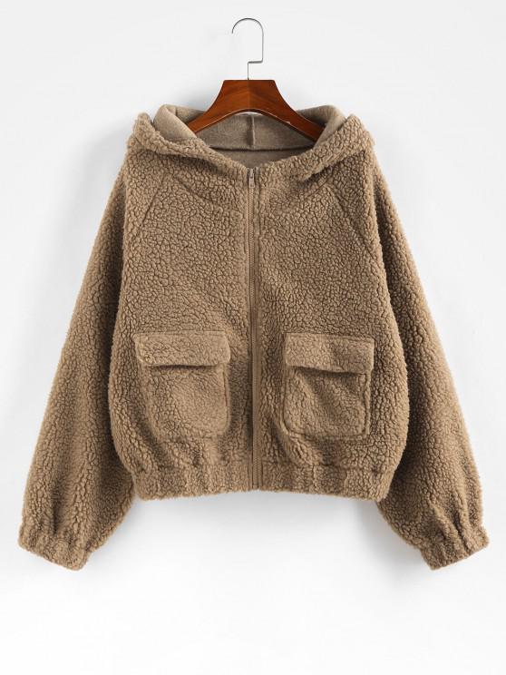outfit ZAFUL  Raglan Sleeve Pockets Faux Fur Coat - BROWN SUGAR S