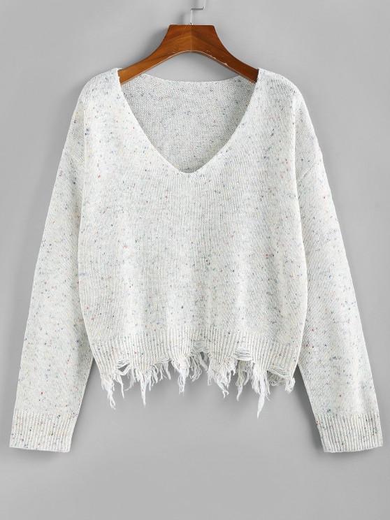 ZAFUL Frayed Hem Drop Shoulder Confetti Knit Sweater - أبيض S