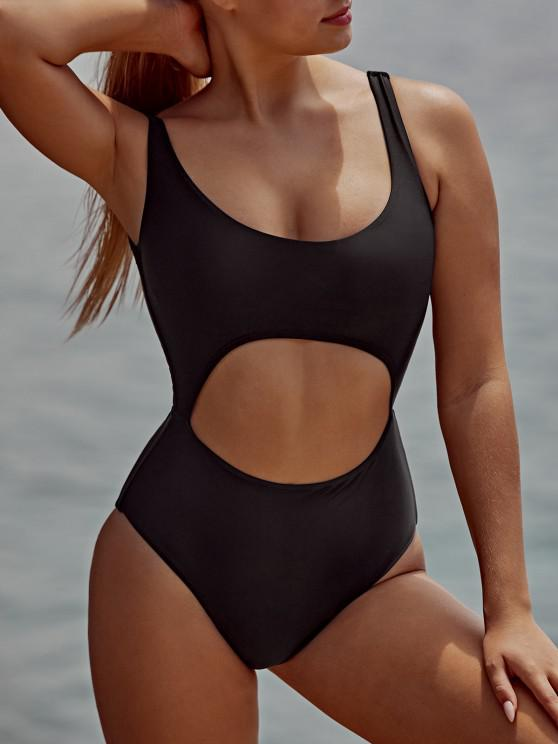 hot Bow Front Cut Out One Piece Swimsuit - BLACK M