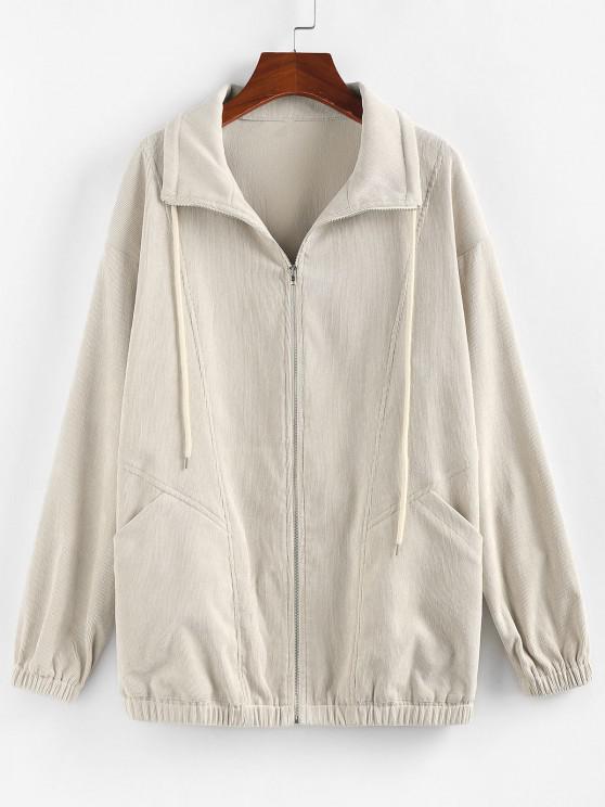 buy ZAFUL Corduroy Pocket Drop Shoulder Jacket - LIGHT KHAKI M