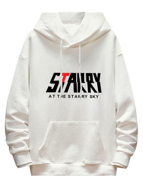 fashion Letter Starry Graphic Drop Shoulder Hoodie - WHITE L