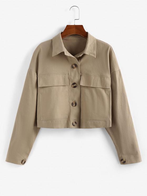 ZAFUL Drop Shoulder Pocket Crop Jacket - أسمر M