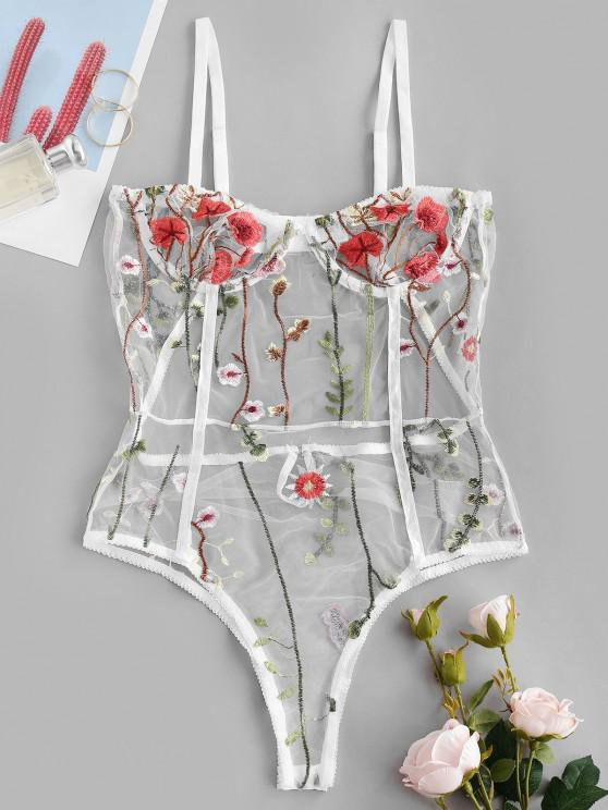 outfits Flower Embroidered Lace Cutout Underwire Lingerie Teddy - WHITE XL