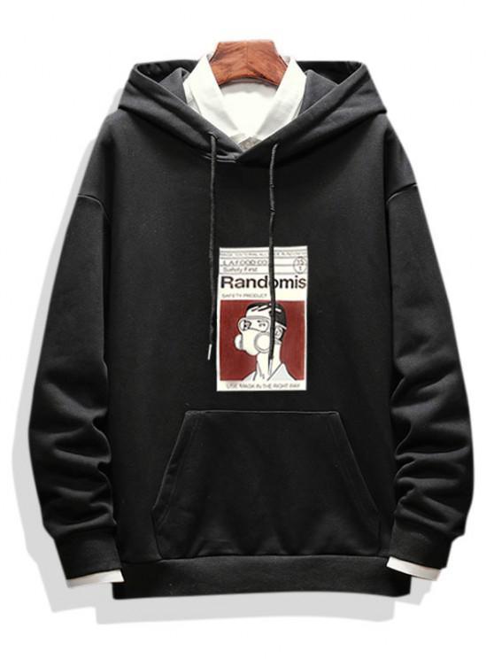 Graphic Print Casual Drop Shoulder Hoodie - أسود M