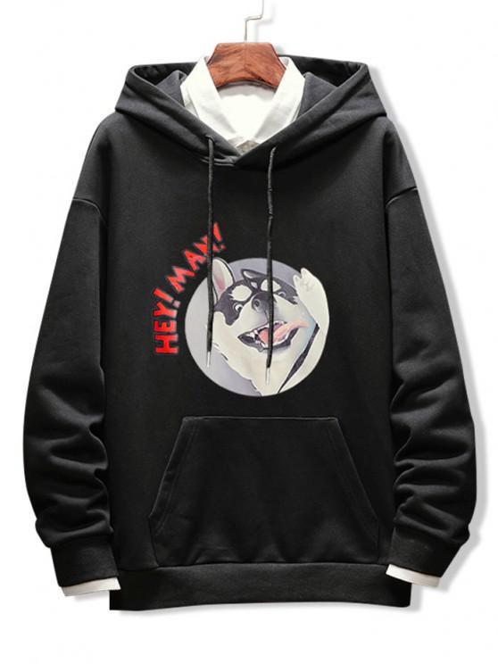 shops Dog Letter Graphic Print Drop Shoulder Hoodie - BLACK L