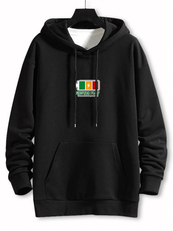 outfits Power Full Battery Print Drop Shoulder Hoodie - BLACK 2XL