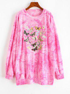 Robe Sweat-shirt Teinté Papillon Graphique à Goutte Epaule - Rouge L