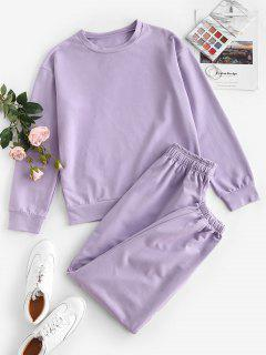 Drop Shoulder Sports Bowknot Jogger Pants Set - Light Purple L