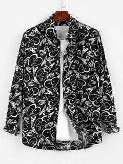 ZAFUL Sketch Hearts Print Button Up Shirt - Black L