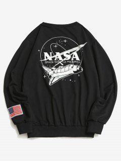 ZAFUL Space Shuttle Program Graphic Sweatshirt - Black L