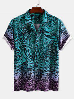 Animal Print Ombre Button Down Shirt - Deep Green M