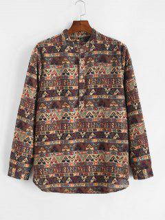 Tribal Print Half Button Long Sleeve Shirt - Deep Coffee 2xl