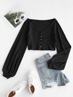 Knit Voluminous Sleeve Cropped Cardigan - Black S