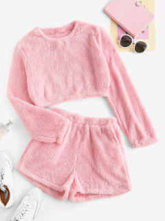 Lounge Plush Pocket Shorts Set - Light Pink M