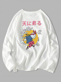 Japanese Cat Graphic Print Long Sleeve Tee - White 4xl