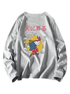 Japanese Cat Graphic Print Long Sleeve Tee - Gray 3xl