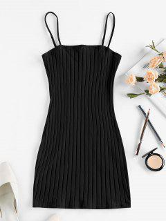 ZAFUL Ribbed Open Back Bodycon Dress - Black S
