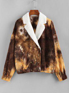 ZAFUL Faux Fur Tie Dye Corduroy Jacket - Mustard M