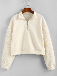 ZAFUL Sweat-shirt Demi-zip En Fausse Fourrure à Manches Longues - Blanc Chaud M