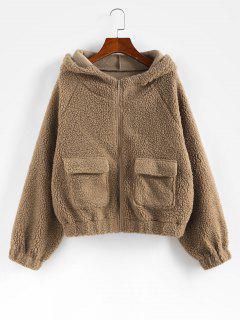 ZAFUL Manteau Avec Poches à Manches Raglan En Fausse Fourrure - Cassonade M
