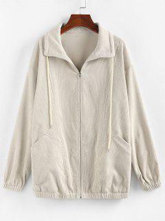 ZAFUL Corduroy Pocket Drop Shoulder Jacket - Light Khaki M