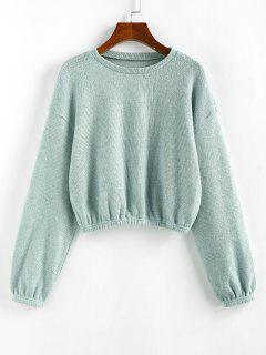 ZAFUL Plain Drop Shoulder Short Knitwear - Light Green S