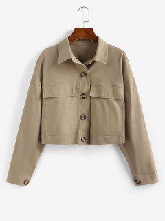 ZAFUL Drop Shoulder Pocket Crop Jacket - Tan M