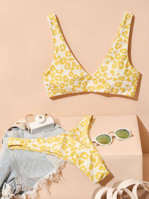 Costume da Bagno Bikini Stampato Leopardo e Cuore di San Valentino a Taglio Alto - Giallo M Mobile