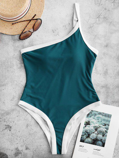 Costume Intero Di ZAFUL A Costine A Monospalla - Blu pavone XL Mobile