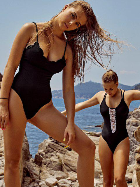 online ZAFUL Scalloped Ribbed One-piece Swimsuit - BLACK S Mobile
