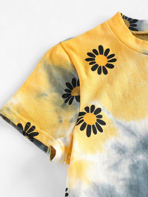 ZAFUL Krawattenfärbender Blumendruck Kurzarm T-Shirt - Multi S Mobile